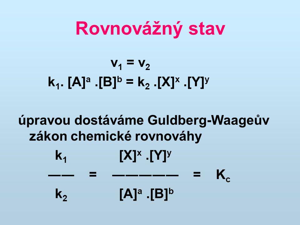 Rovnovážný stav v1 = v2 k1. [A]a .[B]b = k2 .[X]x .[Y]y